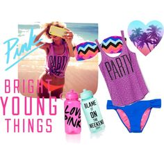 """""""#PINK Beach PARTY"""" by me on #Polyvore #VSPINK #BrightYoungThings"""
