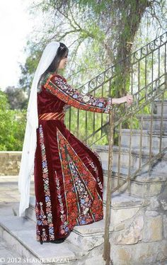 MALAK Dress - Bethlehem.  Women also ensured that wherever they walked, the beautiful embroidery is displayed on sides, back, front, sleeves, very beautifully