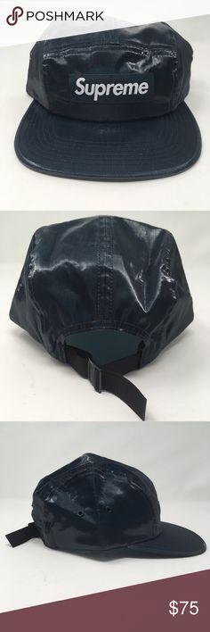 SUPREME BOX LOGO Coated Linen Camp Cap NAVY SS18 Supreme coated linen camp  hat in dark 2ff0172fd85d