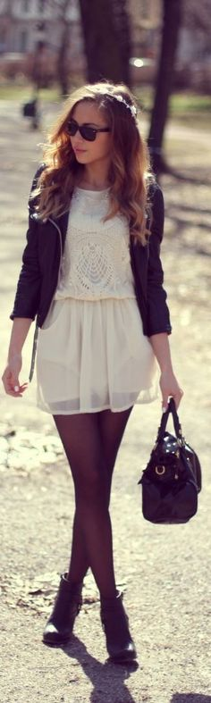 Not my style, but I love the combination of soft vintage looks with hard, edgy pieces. #fashion