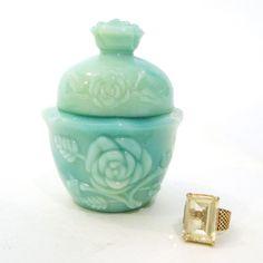 vintage AVON Green Milk Glass Powder Jar (use as a ring holder)
