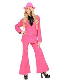 Roze disco kostuum voor dames. Dit neon roze disco kostuum bestaat uit een roze broek met wijde pijpen en een roze colbert. Dit roze kostuum is gemaakt van katoen. Kijk voor bijpassende roze feestartikelen verder in deze winkel.