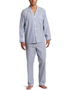 Majestic International Mens Basics Bengal Stripe Long Sleeve Pajama Set Navy Large *** For more information, visit image link.