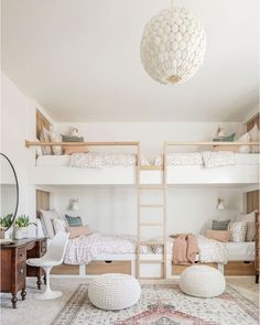 Bedroom Corner, Home Bedroom, Girls Bedroom, Bedroom Decor, Bedrooms, Bunk Beds Built In, Bunk Rooms, Green Bedding, Big Girl Rooms