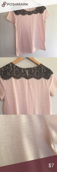 Loft Lacey Tee Really cute Loft Tee with black lace overlay. Only been worn a couple of times. Does have some pilling and a tiny unnoticeable stain as pictured. LOFT Tops Tees - Short Sleeve