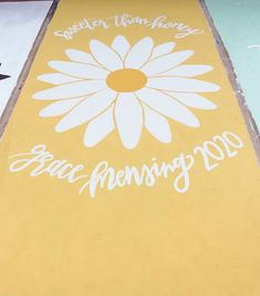 sweeter than honey yellow Floor Painting, Space Painting, Parking Spot Painting, Senior Crown, When School Starts, Parking Spots, Art Projects, Projects To Try, Camping Hair