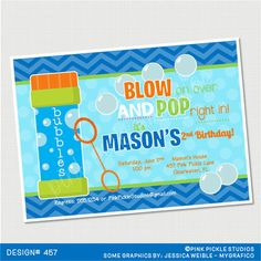 Blowing Bubbles Blue Birthday Invitation or by PinkPickleParties, $10.00