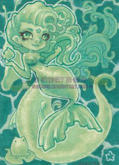 The Emerald Mermaid ACEO  More Mermaid!  On 2.5 x 3.5 Paper Markers and Colored Pencils
