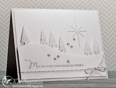 White-on-White—Stamps: Mama Elephant Merry Greetings  Ink: Versamark  Accessories: My Favorite Things Tree Lines die, Memory Box Star of Wonder die, Heat-n-Stick powder, Martha Stewart Fine Crystal Glitter, Pretty Pink Posh 4 mm Sparkling Clear sequins, Lawn Fawn twine