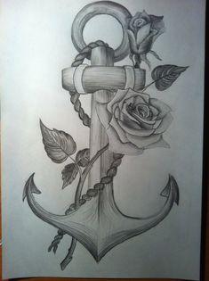 anchor & rose tattoo