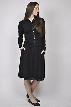 business look, black dress, all black outfit, managent, reception, uniforms Business Look, All Black Outfit, Reception, Management, High Neck Dress, Outfits, Dresses, Design, Fashion