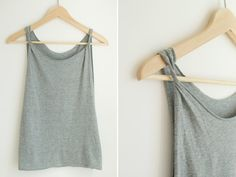 DIY loose cotton twist-shoulder tank top via A Pair & A Spare (I love this look and will definitely be doing this for summer!)