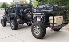 Denny's utility trailer Jeep camper outfitted with a roof top tent and DIY No Weld Trailer Rack. Kayak Trailer, Trailer Diy, Off Road Trailer, Small Trailer, Trailer Plans, Utility Trailer Camper, Camper Trailers, Campers, Expedition Trailer