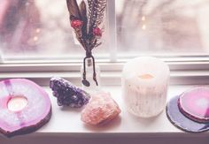 Window altar Home Altar, Spring Awakening, Meditation Space, Hindu Deities, Rocks And Gems, Gems And Minerals, Crystals And Gemstones, Feng Shui, Crystal Healing