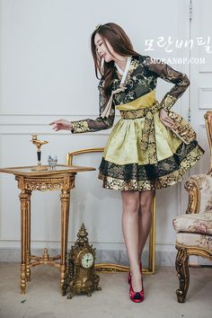 [제작기간 1~2주] 물망초 yellow gold & 자수 저고리 (퓨전한복/한복드레스/미니한복) Lolita Fashion, Girl Fashion, Fashion Outfits, Womens Fashion, Fashion Design, Korean Traditional Dress, Traditional Dresses, Korean Dress, Korean Outfits