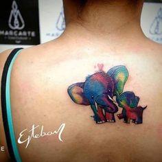 #ink #tattoo #color #elephant #motherandson #love #estebanpublicist