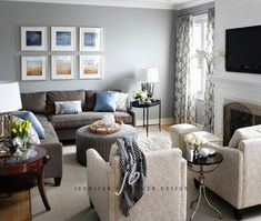 Sectional layout--love the idea of the sofa and two matching chairs in a fun print.