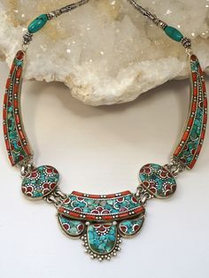 Coral and Turquoise Inlaid Mosaic Necklace 1