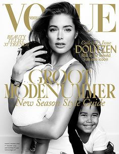 Doutzen Kroes celebrates 30th birthday with three covers for Vogue Netherlands -- this one with her two children.