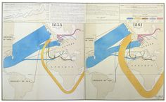 """A rarity of thematic mapmaking: an 1862 Charles Joseph Minard """"flow map"""" tracking the impact of the American Civil War on the global cotton trade. Sankey Diagram, Flow Map, Design Visual, Design Digital, Visual Display, Information Graphics, Europe, Book Projects, Historical Maps"""