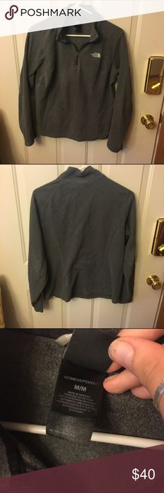 North face pullover Cute lightweight fleece pullover by north face. Grey with half zip. Gently used smoke free North Face Sweaters