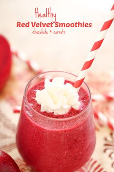 Healthy Red Velvet Smoothies!  A great way to get fruit and veggies in your family's diet all while tasting delicious! #Recipe from chocolateandcarrots.com #smoothie #giveaway