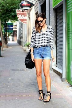 The Gingham Button Down Shirt Cuffed Denim Shorts Isabel Marant Edris Sandals. Silvia Of Lady Addict
