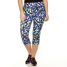 Xersion™ Print Capris ($28) ❤ liked on Polyvore featuring plus size fashion, plus size clothing, plus size activewear, plus size activewear pants, plus size, womens plus size activewear, xersion activewear, xersion and xersion sportswear
