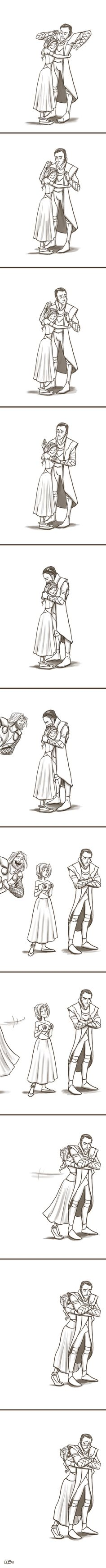 Loki and Sigyn by Wendy Doodles on deviantart. I can't handle the cuteness of this pair. Especially drawn this way <3