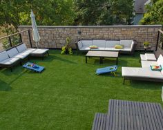 Modern Roof Top Deck Patio Exterior with Artificial Turf Carpet