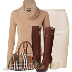 A fashion look from January 2015 featuring beige pullover sweater, pink skirt and knee boots. Browse and shop related looks.