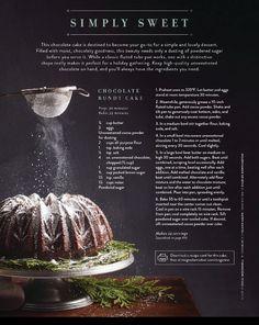 Chocolate Bundt Cake  #myredshoestories #magnoliajournal #joannagaines #recipies