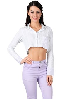 415k O2M O2M White stripe crop shirt with pleats in pocket hand I ZALORA Indonesia