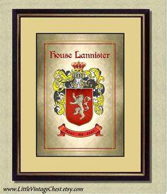 HOUSE LANNISTER Coat of Arms  Game of by littlevintagechest, $7.99