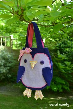 Purple Penguin Toddler and Childrens Bag by coralcandyshop on Etsy, £15.00