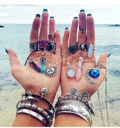 necklace, beach, and rings image