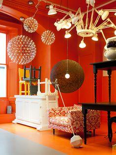 Felix Forest - Tom Dixon at London Design Festival The Dock. London Design Week, London Design Festival, Orange Rooms, Orange Walls, Tom Dixon, The 100, Furniture Design, Chandelier, Ceiling Lights