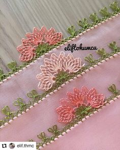 42 Different Easy Needle Lace Models That Anyone Can Make - hacı - Crochet Lace Edging, Crochet Flowers, Filet Crochet, Baby Knitting Patterns, Crochet Patterns, Hand Embroidery, Embroidery Designs, Woolen Craft, Beautiful Dress Designs