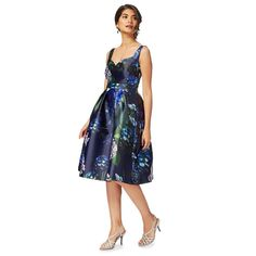 Debut - Navy floral 'Hydrangea' knee length prom dress