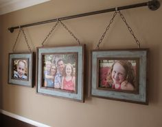 Iron Pipe Family Photo Display from Kruse's Workshop - creative way to display photos - Decoration Art Loft Photo Frame Display, Display Family Photos, Display Pictures, Poster Display, Display Wall, Family Pictures, Display Ideas, Rustic Industrial Decor, Rustic Decor