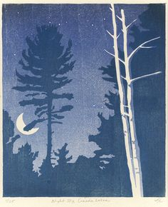 """""""Night Sky, Canada Lakes"""" by Annette Haines of Serendipity Artist Nocturne, Landscape Paintings, Watercolor Paintings, Landscapes, Woodcut Art, Moonlight Painting, Forest Art, Time Art, Print Artist"""