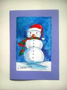 Watercolor art card Christmas art card Merry by VeselinaArt