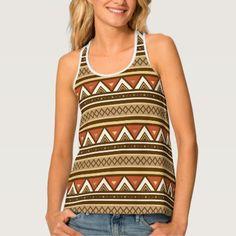 Modern Southwestern Stripes Brown Tan & Rust Tank Top - stripes gifts cyo unique style