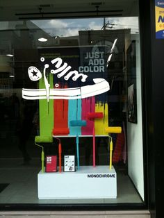 Converse Shoes window graphic. Love the graphics combined with the physical props! Call me if you want to do something similar!