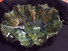 Poured Opulence Emerald green over entire piece, then brushed two coats of Mayco Cappachino Mint on sides