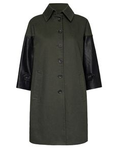 Leather-trimmed Three-quarter-sleeve Trench Coat | BlackFive