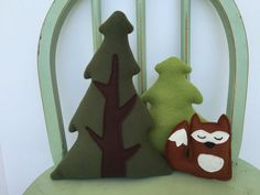 Handmade Evergreen Tree and Woodland Animal Set of Three, Toy, Plushie