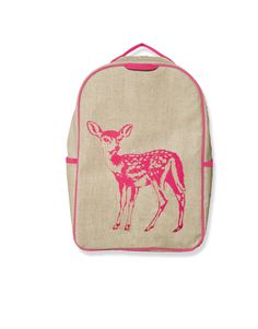 neutral ground + neon print  Pink Fawn Grade School Backpack $49.59 #karmakiss #unique #gifts #kids