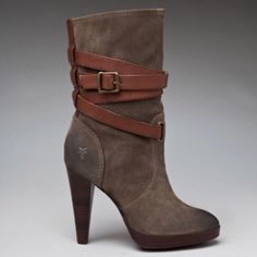 """Frye Harlow Boots Distressed suede boots with wrap-around leather strap and 4"""" heel. Worn a few times, still in perfect condition. I didn't wear this color as much as I thought I would (I also have them in black). Purchased full price from Revolve. Frye Shoes Heeled Boots"""