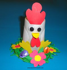 Gallina di Pasqua con ovetti al cioccolato da realizzare con bicchiere di plastica e cartoncini colorati. Vediamo ora nel dettaglio il materiale e i passag